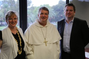 Gabrielle Sinclair, ACBC Office for Youth Projects Manager;   Australian Catholic Bishops Delegate for Youth, Bishop Anthony Fisher OP; Malcolm Hart., Director ACBC Office for Youth
