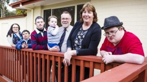 Canberra's Mowbray family, from left, Emmalee, Paul, Luke, Noah, 18 months, Glenn, Trish, and Peter. Photo: Jamila Toderas for The Canberra Times