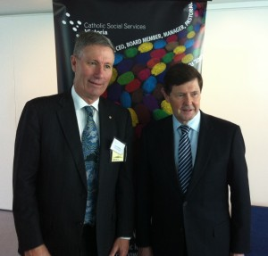 Book Co-editor Prof John Warhurst with Minister for Social Services, the Hon Kevin Andrews MP (who launched the book)