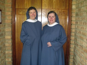 Sr Therese and Sr Maureen Therese at Abbey door - horizontal shot