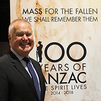 Fr Christopher Willcock sj, composer of the Mass For the Fallen at the media launch at the Australian War Memorial on Friday 10 April, 2015