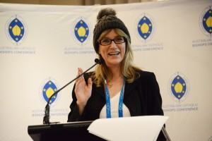 Jane Jeffes, ABC Religion and Ethics, supporting 'Beanie for Brain Cancer' awareness campaign