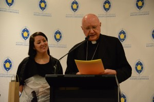 Beth Doherty and Archbishop Celli during book launch