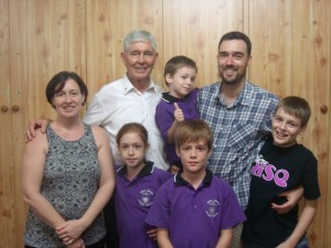 The Bourke family with Bishop of Darwin Eugene Hurley