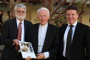 Dr Terry Wilson, Editor, Bishop Les Tomlinson, Australian Catholic Bishops' Delegate for Employment Relations, and Tony Farley, Member of ACCER.