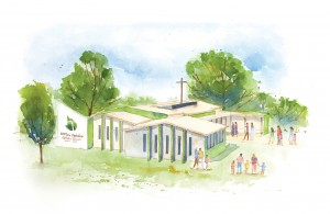 Artist impression of the new purpose-built parish centre and worship space to be built on the site adjacent to St Justin's Catholic Primary School