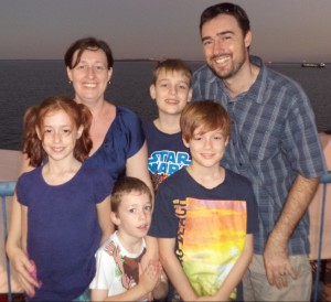 Matthew & Catherine Bourke with their four children; Michael, Joel, Trinity and Sebastian.