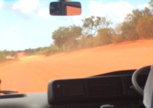 Travelling along the dusty red earth in the Diocese of Broome