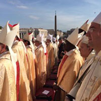 The skies cleared as the Canonisation Mass continued. The clouds dispersed but the mitres were still everywhere.