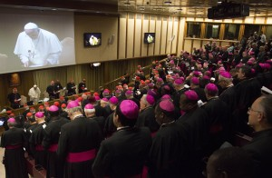 Pope Francis speaking during the General Assembly of Bishops. Photo by Fiona Basile.