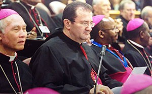 Bishop Tarabay prepares to deliver his three minute intervention during the Synod in Paul Vi Hall, Rome.