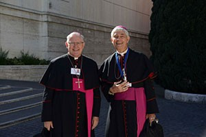 Aussie bishops, Archbishop Coleridge and Bishop Hurley, at the Vatican. Photo by Fiona Basile.