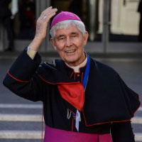 Bishop Hurley outside the Synod hall. Photo by Fiona Basile.
