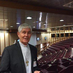 Bishop Hurley at Paul Vi Hall, the #Synod2015 venue