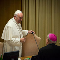 Pope Francis in the Synod Hall. Photo by Fiona Basile.