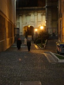 A content Pope Francis walks home.