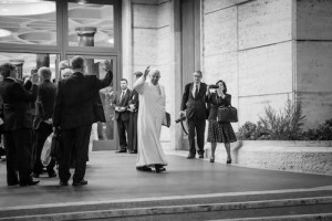 Pope Francis leaving the Synod. Photo by Fiona Basile.