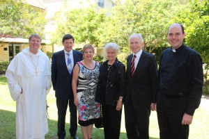 L-R: Archbishop Fisher, Kevin and Margaret Andrews, Mavis and Ron Pirola and Bishop Kennedy following the farewell luncheon recently.