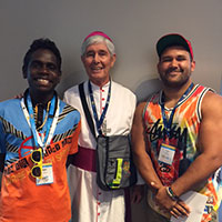 Bishop Hurley with young people from the Darwin Diocese.