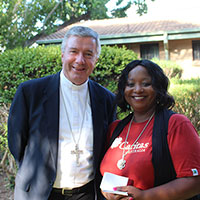 Archbishop of Canberra-Goulburn, Christopher Prowse & Caritas Diocesan Engagement Coordinator Lulu Mitshabu