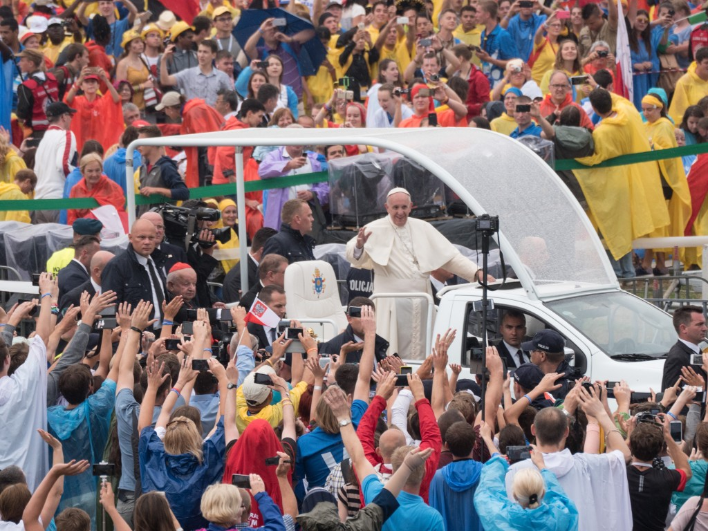 Pope Francis arrives at Blonia Park, Krakow for World Youth Day 2016.