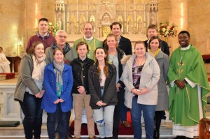 Bishop Kennedy with the WYD pilgrims from Armidale diocese.