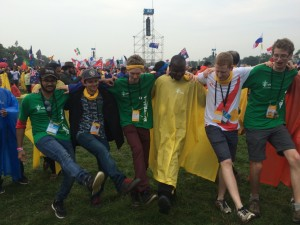 Aussie pilgrims dancing to during papal welcome.