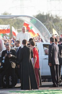 Pope Francis greets young people at the vigil