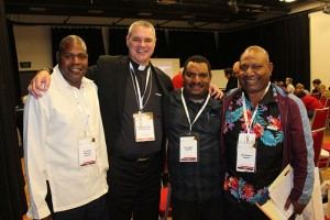 Bishop Peter with three priests from PNG, Fr Robert, Fr Elijah and Fr Elias.