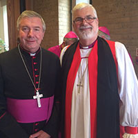 Bishop delegates for Australia, Catholic Archbishop Christopher Prowse, with Anglican Bishop of Wangaratta, John Parkes.