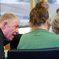 Bishop Brady chats to inmates at Silverwater yesterday