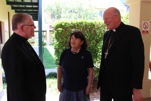 L-R: Archbishop Mark Coleridge, Sr Ruth Durick OSU and Archbishop Denis Hart.