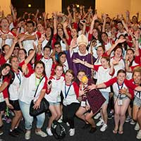 Archbishop Anthony Fisher OP with young people from Sydney at ACYF in Adelaide, 2015.